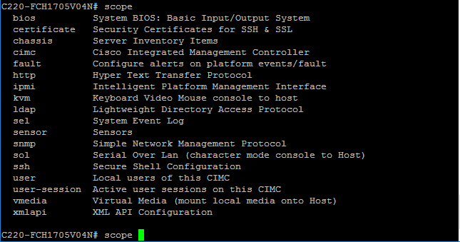 Cisco UCS Rack server CLI