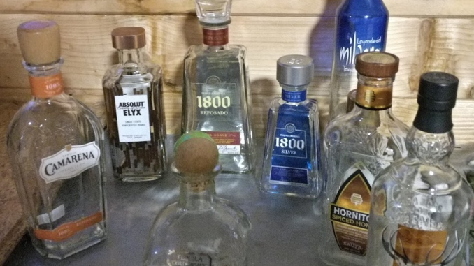 Lot of empty tequila bottles