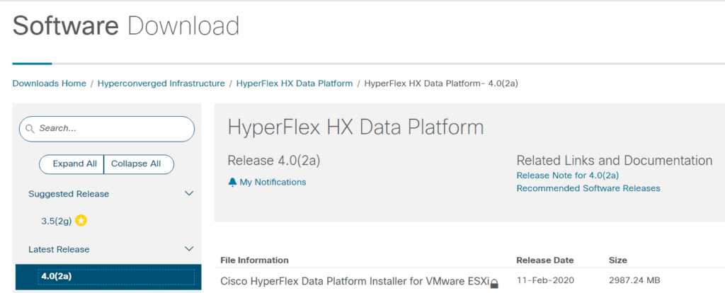CCO Download UCS Manager HXDP