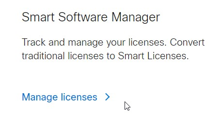 Cisco Software Central for LIcenses